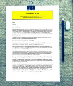 Image showing the Enforcement Notice for London Fire Risk Assessments